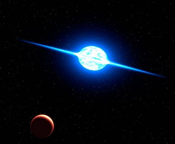 Звезда VFTS 102 глазами художника. Иллюстрация NASA, ESA, and G. Bacon (STScI)