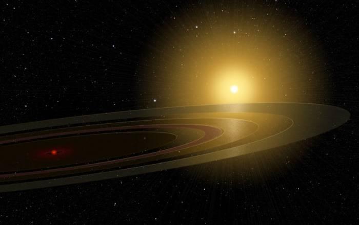 Система звезды 1SWASP J140747.93-394542.6. Иллюстрация Michael Osadciw/University of Rochester