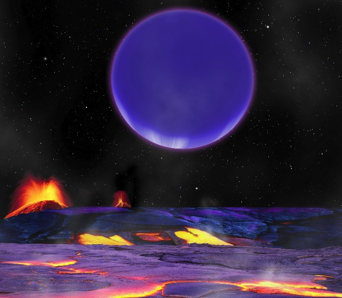 Вид на газовый гигант Kepler 36c с «суперземли» Kepler 36-b.