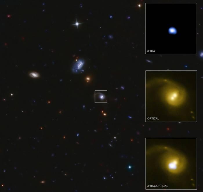 Галактика CID-42. Во вставках данные наблюдения в оптическом и рентгеновском диапазоне.