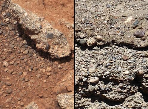 Марсианская и земная (справа) галька.