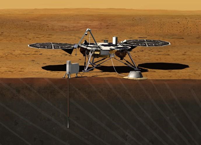 Аппарат «InSight» на поверхности Марса.