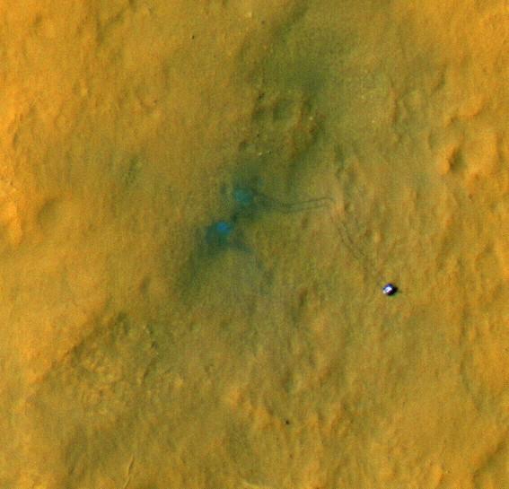 Марсоход «Curiosity». Снимок камерой высокого разрешения HiRISE.
