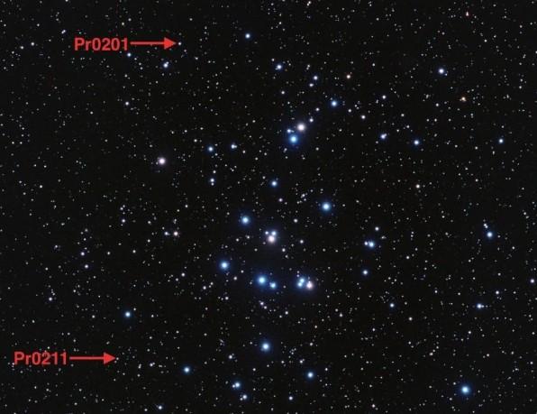 Стрелками указаны местонахождения звезд Pr0201 и Pr0211.