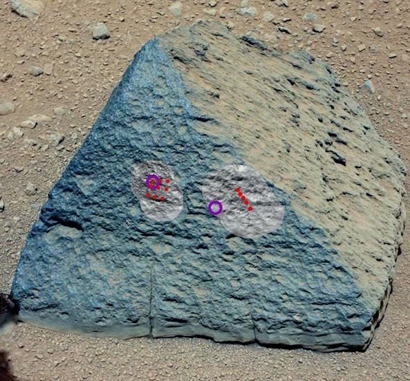 На иллюстрации точками обозначены места попадания лазера «ChemCam», фиолетовыми кружками показаны зоны исследования APXS.