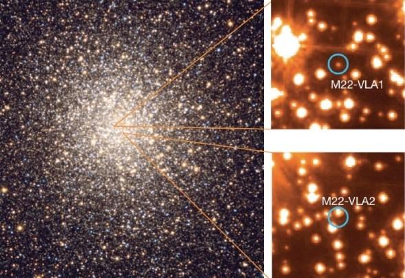 Иллюстрация показывает примерное расположение черных дыр.