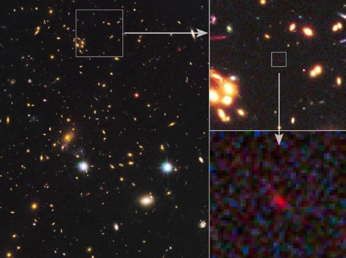 Галактика MACS 1149-JD (в правом нижнем углу)