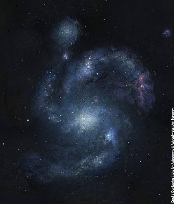 Образ галактики BX442 по данным космического телескопа «Хаббл» с применением компьютерной графики.