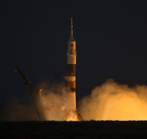 Запуск ракеты Союз с космодрома Байконур