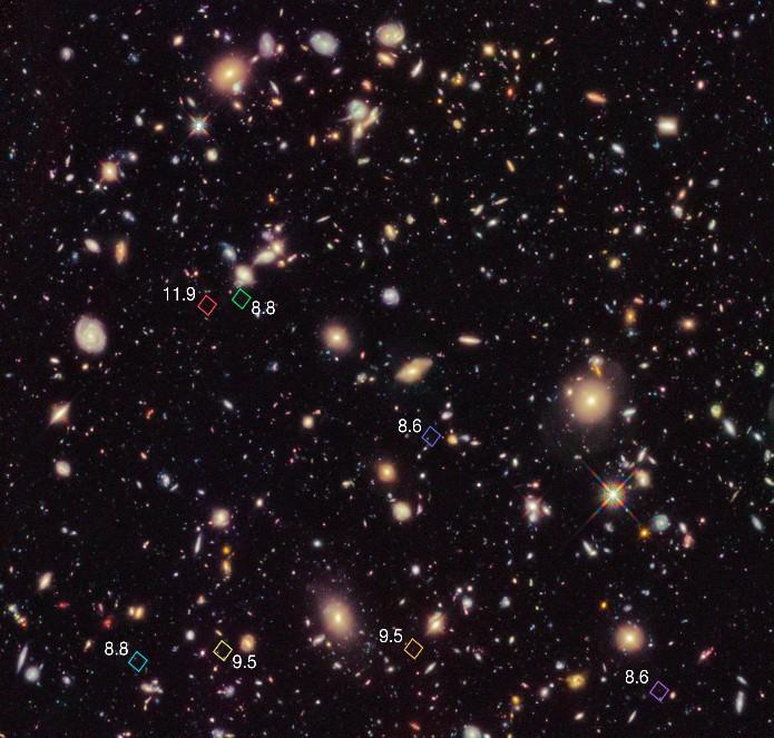 Семь галактик, образовавшихся в период реионизации.