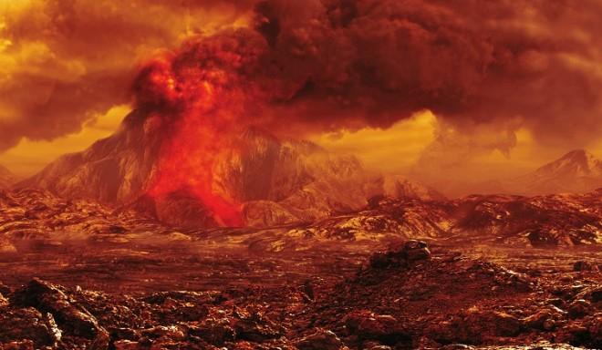 Действующий вулкан на Венере.