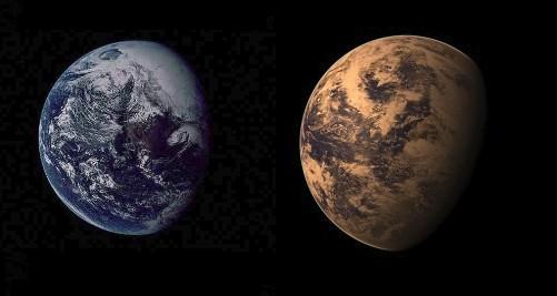 Визуальное сходство Земли (слева) и Gliese 667Cc (справа). Gliese 667Cc - компьютерная модель.