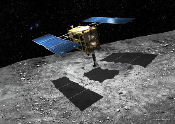 """""""Хаябус-2"""" возле астероида 1999 JU3 в представлении художника."""