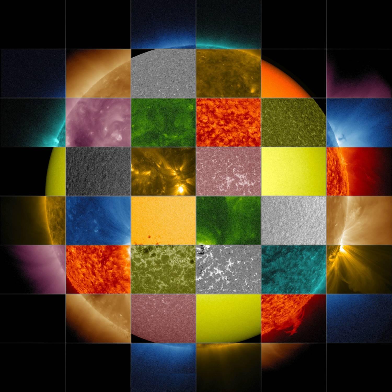 Коллаж из фотографий Солнца