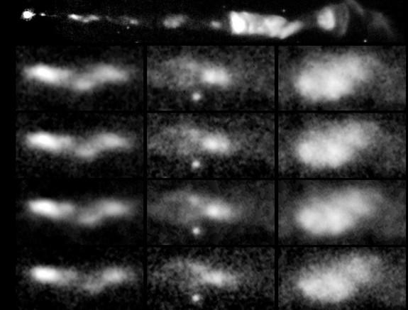 Последовательность образов выброса из черной дыры снятых в течение 13 лет.