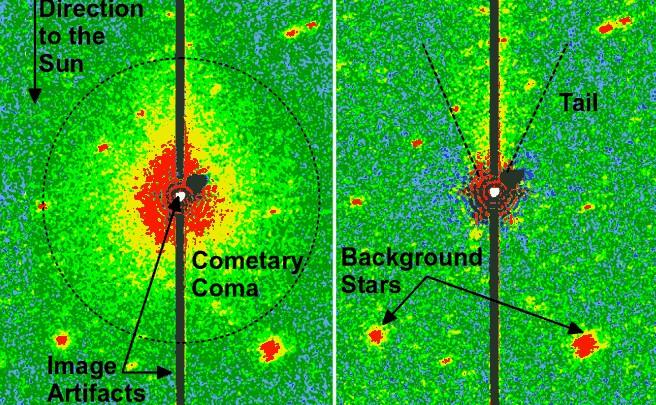 Инфракрасное наблюдения показало слабый газовый хвост.