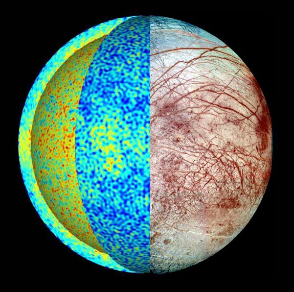 Иллюстрация Европы показывает температурные поля при моделировании динамики, где горячие струи (красный) поднимаются со дна моря к прохладным (синий). Тепло доставляется к ледяным границам в районе экватора, в соответствии с распределением местности на Европе.