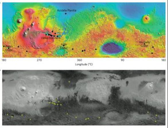 Карта подтвержденных мест наличия темных полос на Марсе.