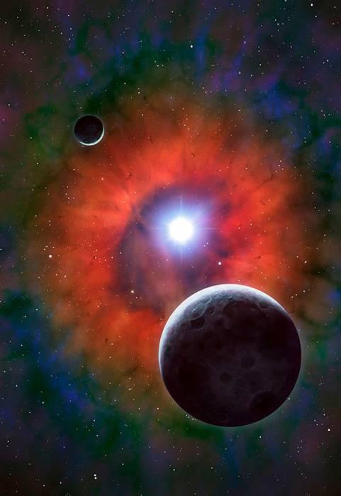 Иллюстрация сверхновой Кассиопея А с двумя планетами.