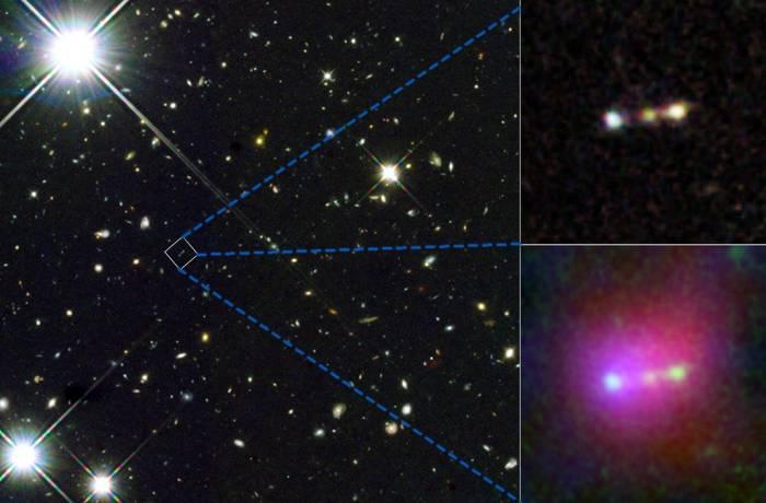 Вставки справа на иллюстрации показывают трио древних галактик. Нижняя вставка демонстрируют шар ионизированного газа окружающий трио.