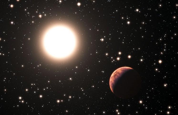 Экзопланета у солнцеподобной звезды в скоплении М67 глазами художника.