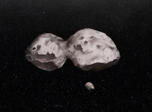 Астероид Гектор и его спутник глазами художника.