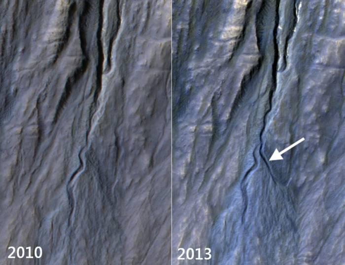 Образование кратера на Марсе.