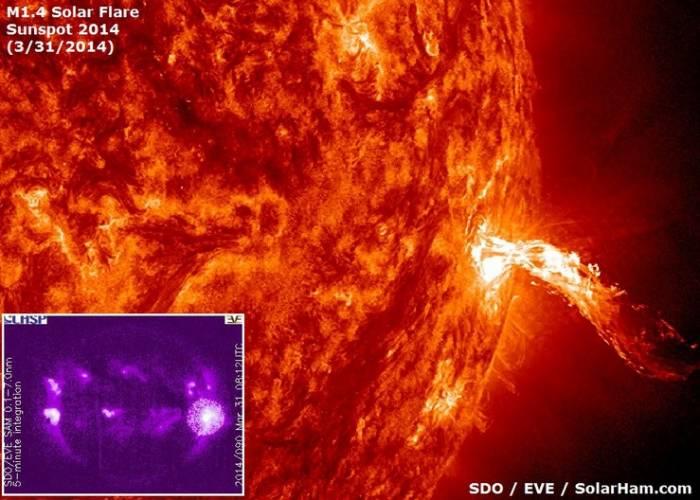 Вспышка на Солнце класса M, произошедшая 31 марта 2014 года.