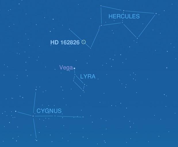 Местоположение звезды HD 162826.