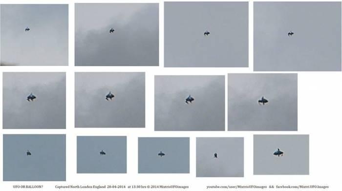 Коллаж снимков НЛО над Лондоном.