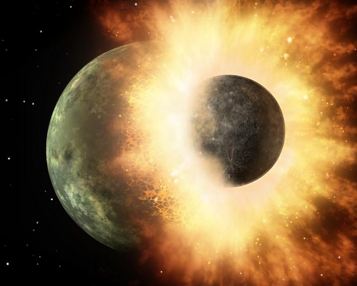 Столкновение, которое дало начало формированию Луны.