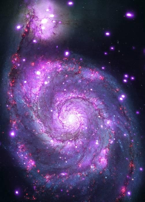Композиционное изображение галактики M51.