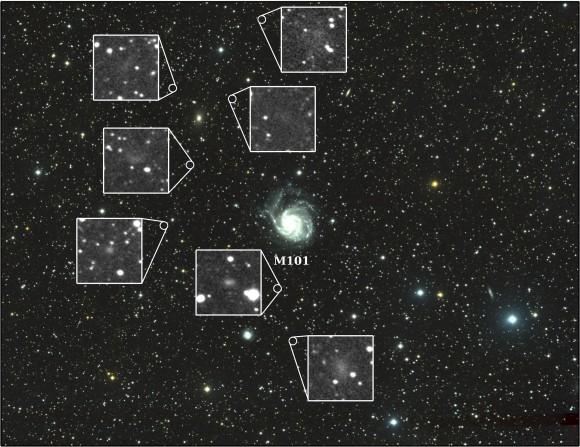 Галактика M101 и ее карликовые галактики.