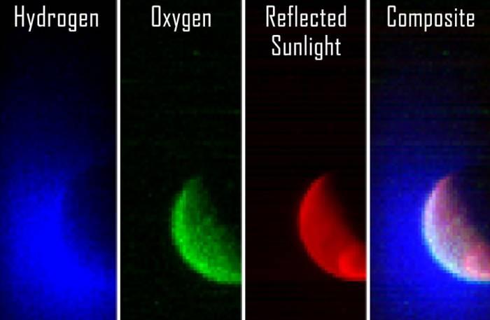 Иллюстрация показывает, слева на право, данные наблюдения спектрографа в ультрафиолетовом диапазоне отражения от атомарного водорода, атомарного кислорода, поверхности Марса и сборное изображение всех фильтров.