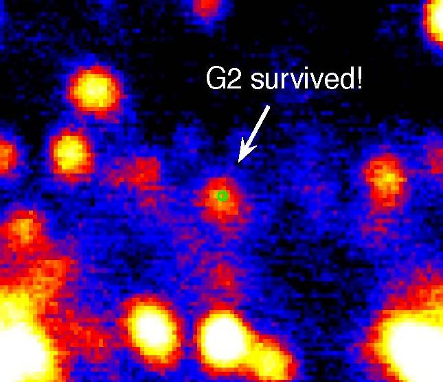 Изображение показывает, что объект G2 выжил и продолжает двигаться по своей орбите.