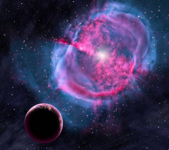 Художественная концепция экзопланеты, которая вращается вокруг туманности.