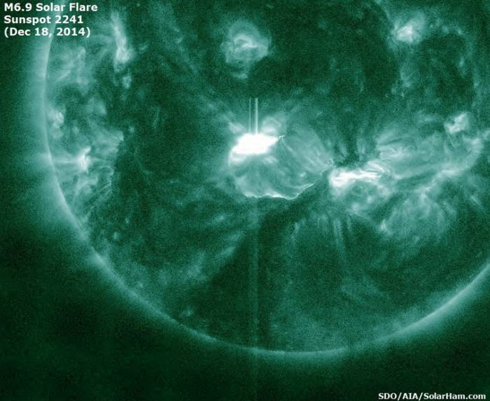 Вспышка на Солнце класса M6.9 18 декабря 2014 года.