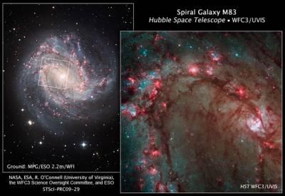 Новый взгляд космического телескопа Хаббл на галактику М83