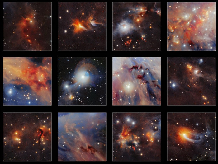 Интересные фрагменты снимка облака Орион А.