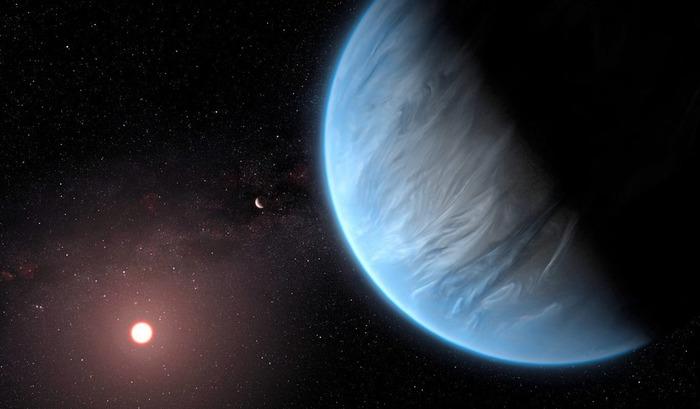 Художественное изображение экзопланеты K2-18b.