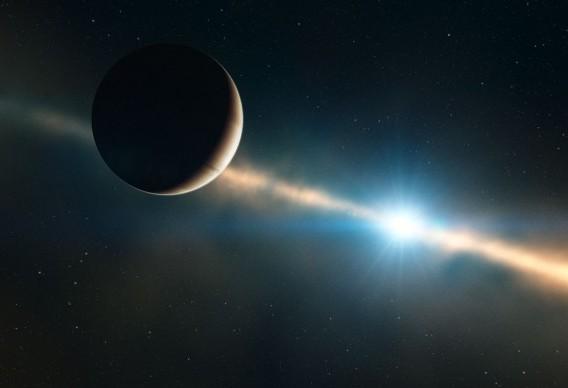 Экзопланета на орбите у звезда Беты Живописца глазами художника.