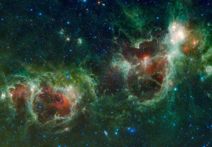 Туманности Сердце и Душа. Фото NASA/JPL-Caltech/UCLA