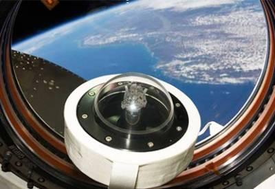 Образец лунной породы на борту МКС.