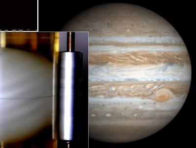 В лабораторном эксперименте (см. вставку), поддельные приливы производят полосы, напоминающие полосы Юпитера. Фото (Юпитер) NASA; (Эксперимент) C. Morize et al, Physical Review Letters (2010)