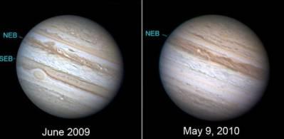 Существенные изменения на Юпитере произошли менее чем за год. Фото Anthony Wesley, caption via Bob King