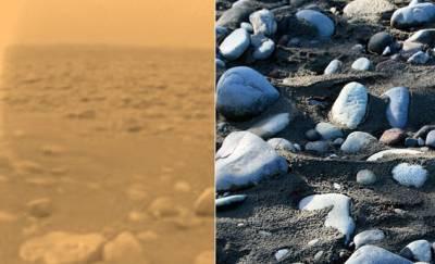 Поля камней на Титане(слева). Галька на Земле (справа). Фото NASA/JPL/ESA/University of Arizona/S. M. Matheson