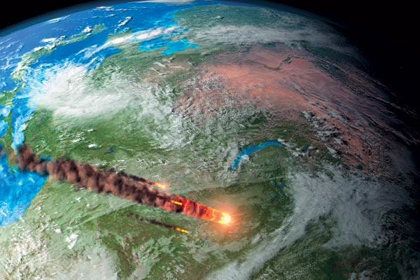Падение астероида. Иллюстрация NASA.
