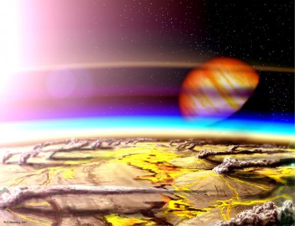 Художественное изображение вулканов на Ио, спутнике Юпитера. Иллюстрация Wade Henning