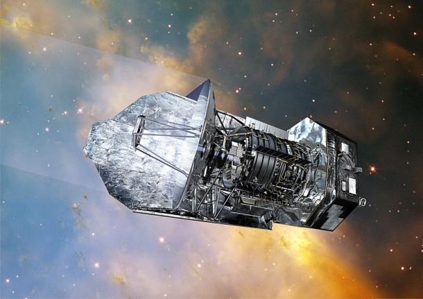 Телескоп «Гершель». Иллюстрация ESA (Image by AOES Medialab); background: Hubble Space Telescope, NASA/ ESA/ STScI