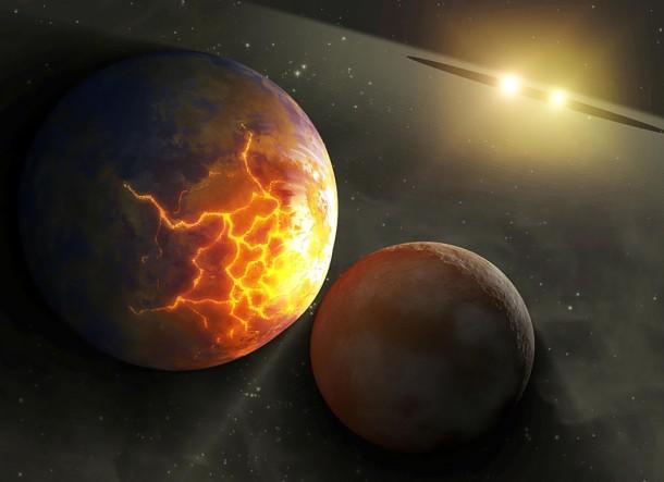 Концепция художник иллюстрирует неминуемое столкновения планет, находящихся на орбите вокруг бинарной системе звезд. Иллюстрация NASA/JPL-Caltech